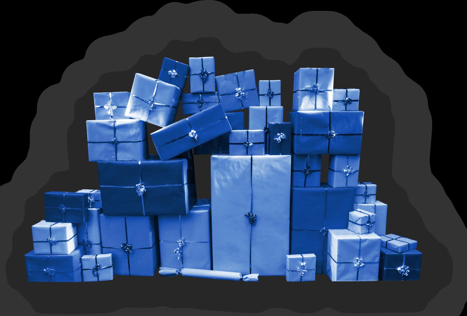 blauwe pakjes met strik